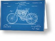 1901 Stratton Motorcycle Blueprint Patent Print Greeting Card