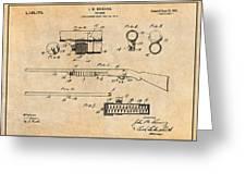 1913 Remington Model 17 Pump Shotgun Antique Paper Patent Print Greeting Card