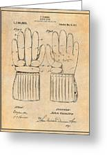 1914 Hockey Gloves Antique Paper Patent Print Greeting Card