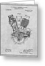 1914 Spacke V Twin Motorcycle Engine Gray Patent Print Greeting Card