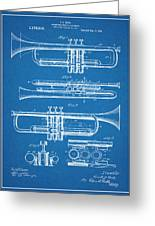 1916 Trumpet And Cornet Blueprint Patent Print Greeting Card
