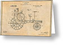 1919 Antique Tractor Antique Paper Patent Print Greeting Card