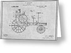 1919 Antique Tractor Gray Patent Print Greeting Card