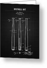 1924 Baseball Bat - Black Blueprint Greeting Card