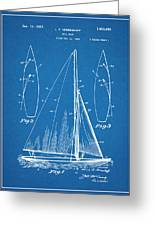 1927 Herreshoff Sail Boat Patent Print Blueprint Greeting Card