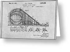 1927 Roller Coaster Gray Patent Print Greeting Card