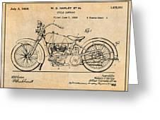 1928 Harley Davidson Motorcycle Antique Paper Patent Print Greeting Card