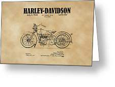 1928 Harley Davidson Motorcyle Patent Illustration Art Print Greeting Card by David Millenheft