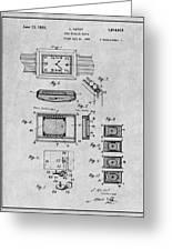 1930 Leon Hatot Self Winding Watch Patent Print Gray Greeting Card