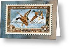 1934 Hunting Stamp Collage Greeting Card by Clint Hansen
