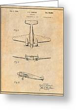 1934 Lockheed Model 10 Electra Airliner Patent Antique Paper Greeting Card
