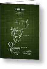 1936 Toilet Bowl - Dark Green Blueprint Greeting Card