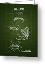 1936 Toilet Seat - Dark Green Blueprint Greeting Card