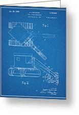 1937 Backhoe Excavator Blueprint Patent Print Greeting Card