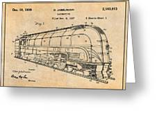 1937 Jabelmann Locomotive Antique Paper Patent Print Greeting Card