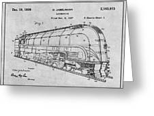 1937 Jabelmann Locomotive Gray Patent Print Greeting Card