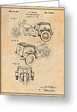 1952 3 Three Wheel Motorcycle Antique Paper Patent Print Greeting Card
