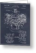 1954 Chrysler 426 Hemi V8 Engine Blackboard Patent Print Greeting Card