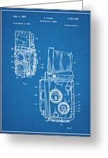 1960 Rolleiflex Photographic Camera Blueprint Patent Print Greeting Card