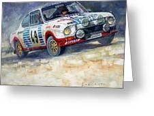 1977 Rallye Monte Carlo Skoda 130 Rs Blahna Hlavka Winner Greeting Card