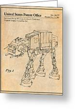 1982 Star Wars At-at Imperial Walker Antique Paper Patent Print Greeting Card