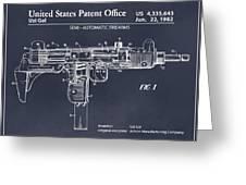 1982 Uzi Submachine Gun Blackboard Patent Print Greeting Card