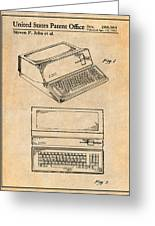 1983 Steve Jobs Apple Personal Computer Antique Paper Patent Print Greeting Card
