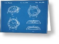 1999 Rolex Diving Watch Patent Print Blueprint Greeting Card