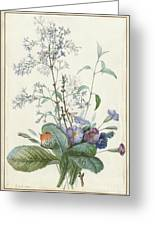 A Bouquet Of Flowers With Insects  Greeting Card