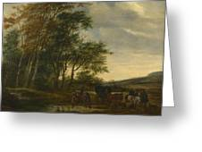 A Landscape With A Carriage And Horsemen At A Pool  Greeting Card