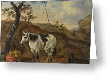 A White Horse Standing By A Sleeping Man  Greeting Card