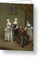 An Interior With Three Women And A Seated Man  Greeting Card
