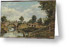 An Old Bridge At Hendon  Middlesex  Greeting Card