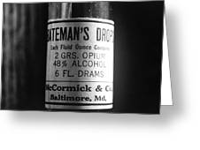 Antique Mccormick And Co Baltimore Md Bateman's Drops Opium Bottle Label - Black And White Greeting Card