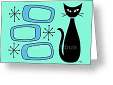 Cat With Mid Century Modern Oblongs Greeting Card by Donna Mibus