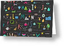 Cute Alphabet. Letters And Words. Learn Greeting Card