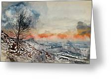 Digital Watercolor Painting Of Beautiful Winter Landscape At Vib Greeting Card