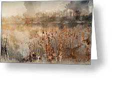 Digital Watercolor Painting Of Landscape Of Lake In Mist With Su Greeting Card