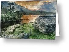 Digital Watercolor Painting Of Panorama Landscape Stunning Sunri Greeting Card