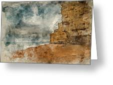 Digital Watercolour Painting Of Beautiful Vibrant Sunset Landsca Greeting Card