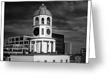 Halifax Town Clock 2017 Black  And White Greeting Card