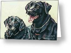 2 Labs Greeting Card