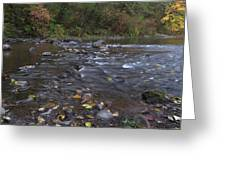Long Exposure Photographs Of Rolling River With Fall Foliage Greeting Card
