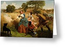 Mrs  Schuyler Burning Her Wheat Fields On The Approach Of The British  Greeting Card
