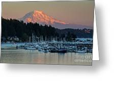 Sunset At Gig Harbor Marina With Mount Rainier In The Background Greeting Card
