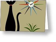 Tabletop Cat With Starburst Clock Greeting Card by Donna Mibus