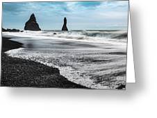 The Dramatic Black Sand Beach Of Reynisfjara. Greeting Card