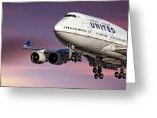 United Airlines Boeing 747-422 Greeting Card