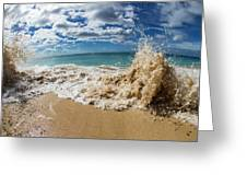 View Of Surf On The Beach, Hawaii, Usa Greeting Card