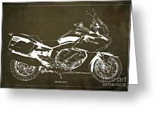 2016 Bmw K1600gt Blueprint, Original Motorcyclkes Blueprints, Bmw Artworks, Vintage Brown Background Greeting Card